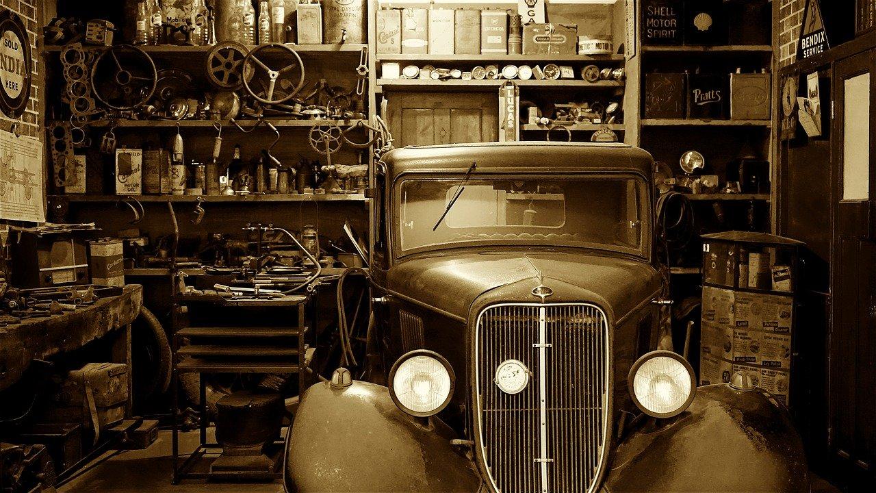 auto, coche, garaje