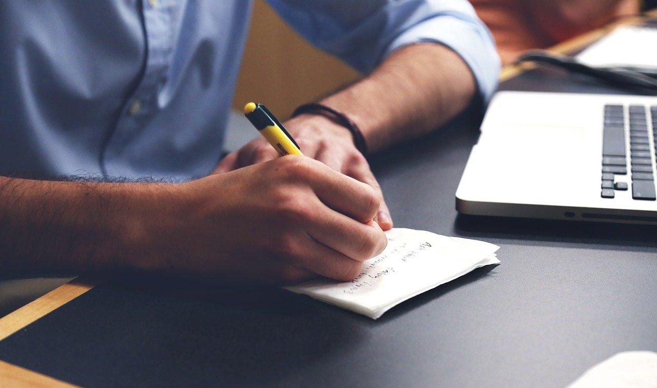 hombre, escribir, plan
