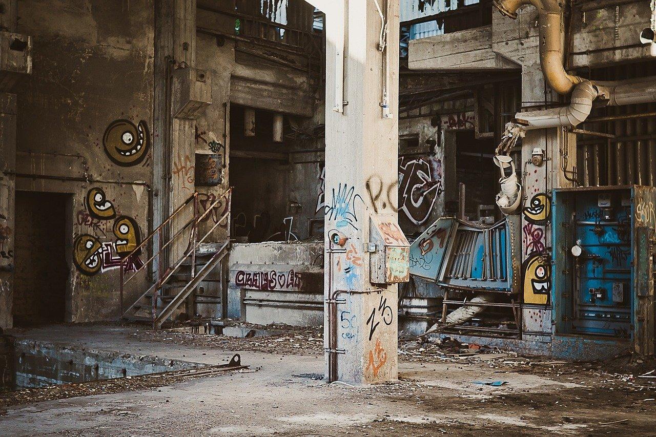 pintada, depósito, planta industrial