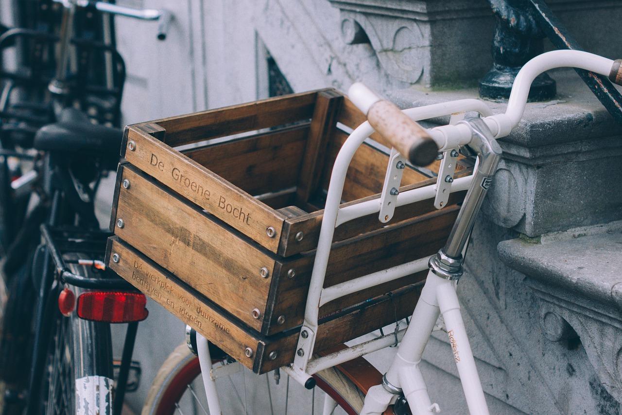 bicicleta, carrito de supermercado, cesta