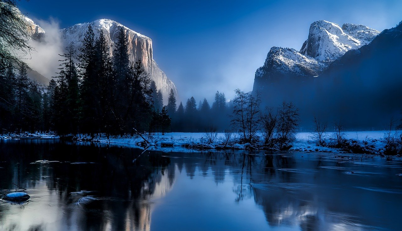 lago, nieve, montañas