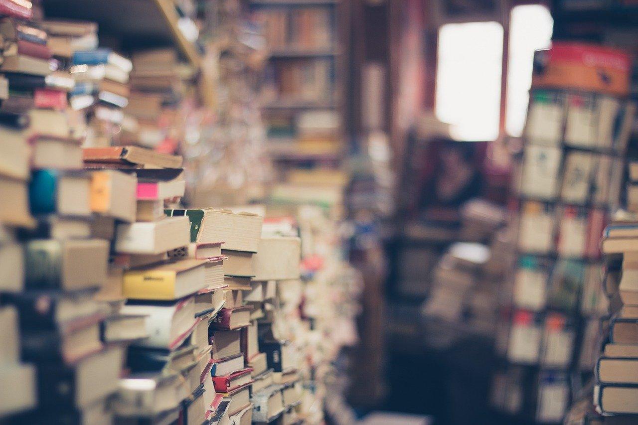libros, apilar, tienda de libros