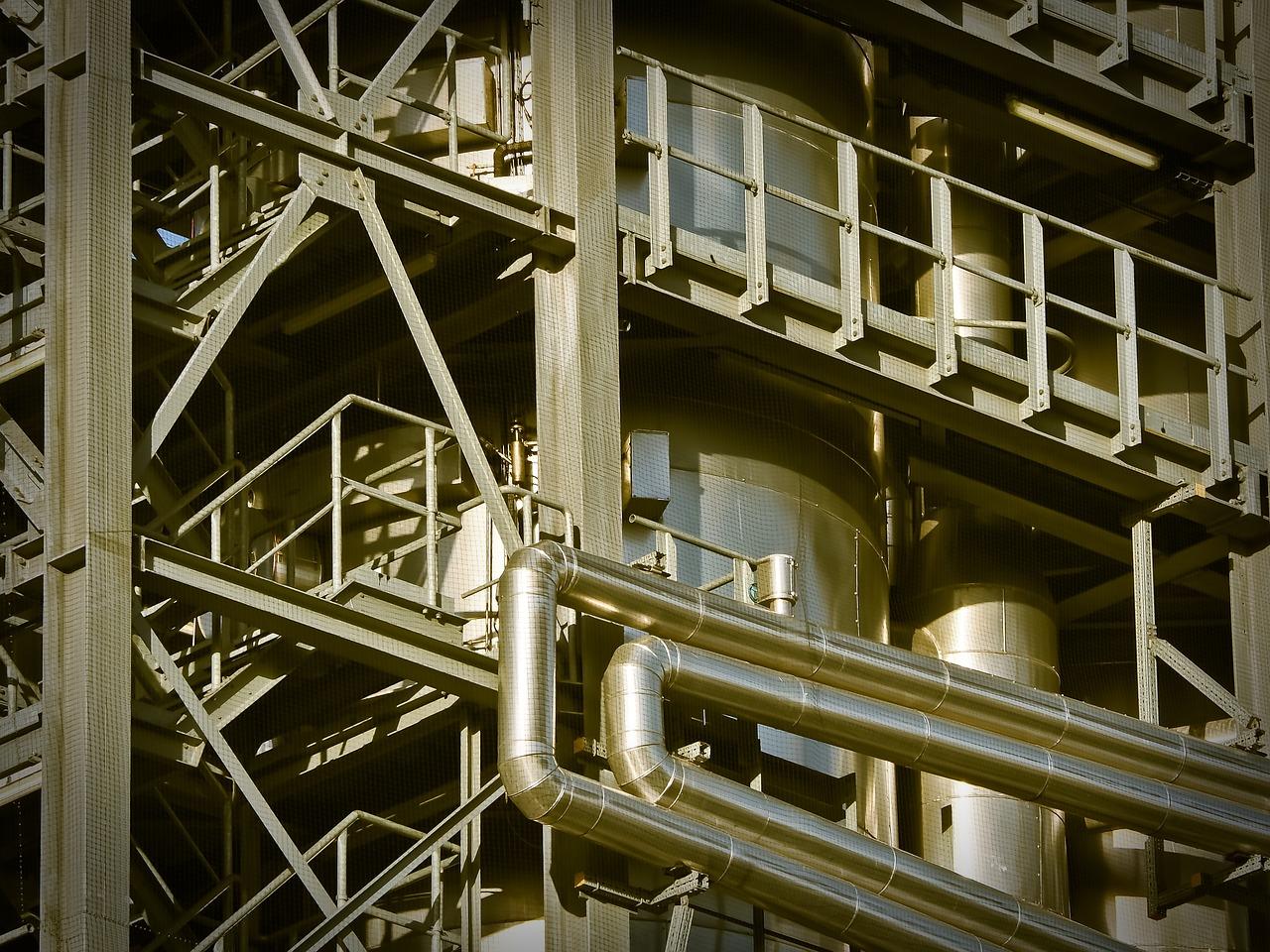 fábrica, edificio, industria