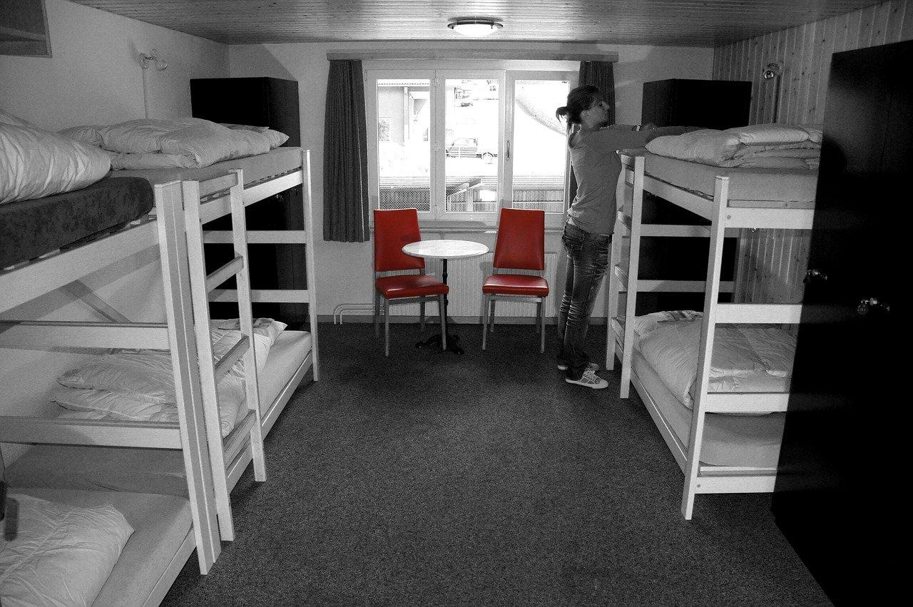 cama, habitación, hostel