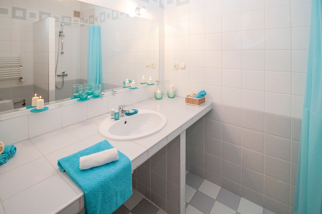 baño, lavabo, espejo