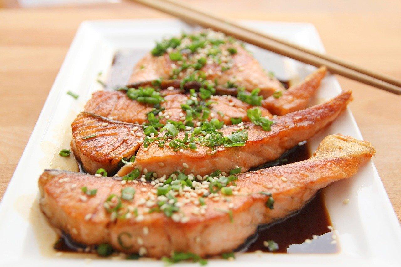 comida, salmón, teriyaki
