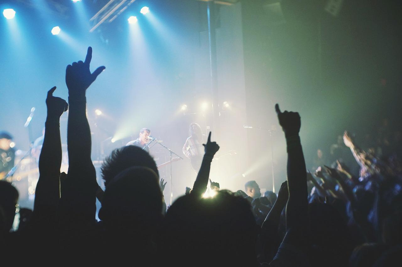concierto, escenario, multitud