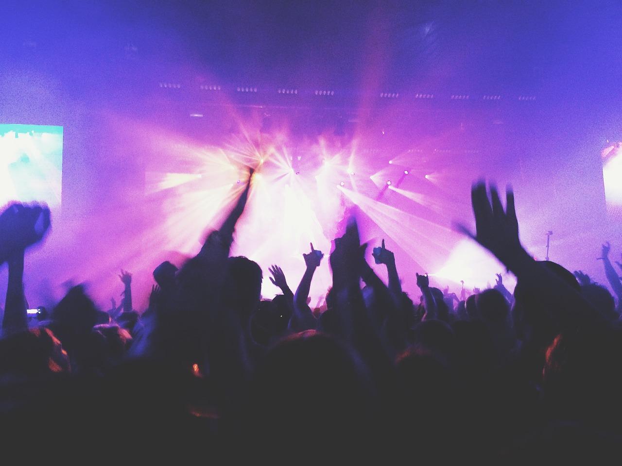concierto, música, multitud