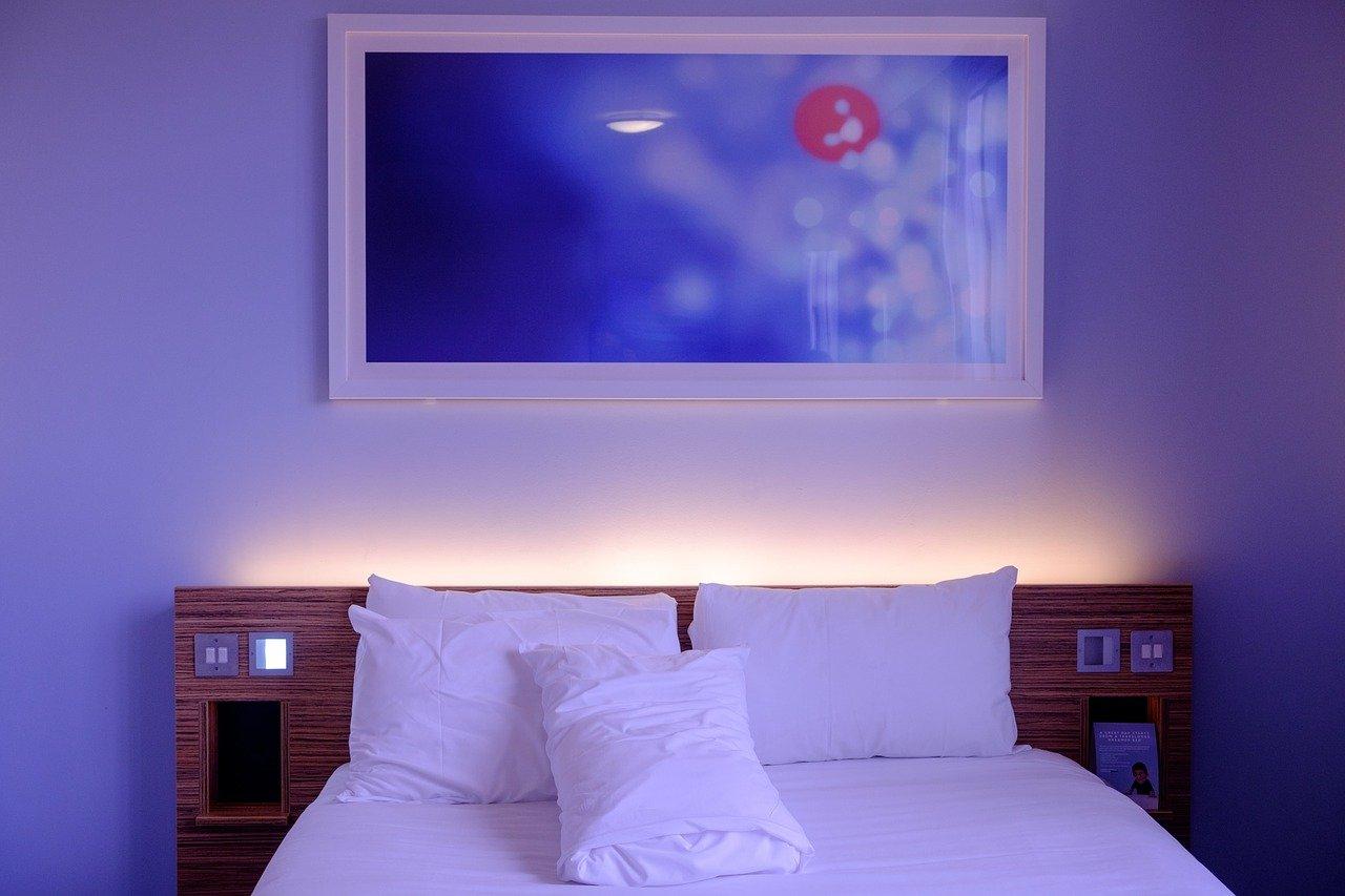 habitación, habitación de hotel, cama