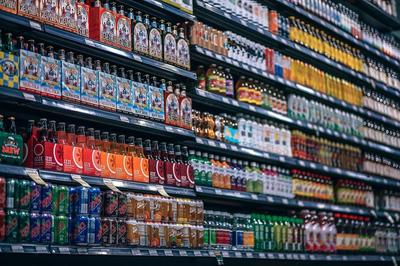 bebidas, botellas, estante