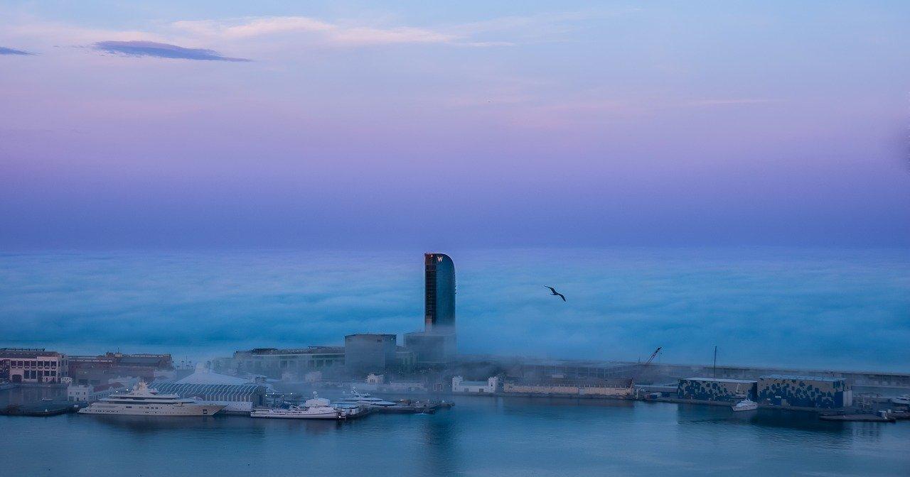barcelona la noche, mar, ciudad
