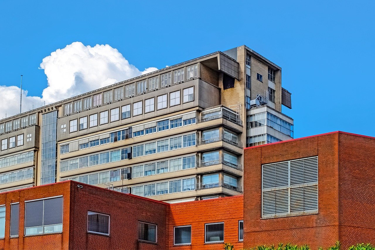 edificio, antiguo, hospital