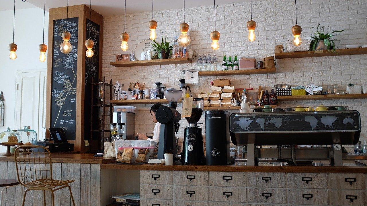cafetería, barista, obrero