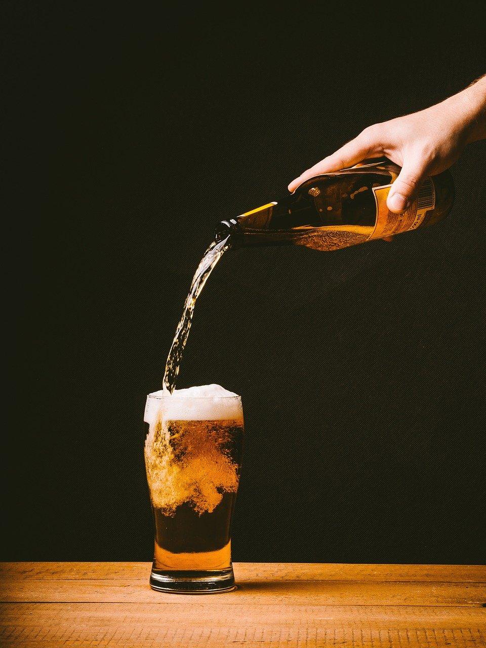 cerveza, torrencial, vidrio