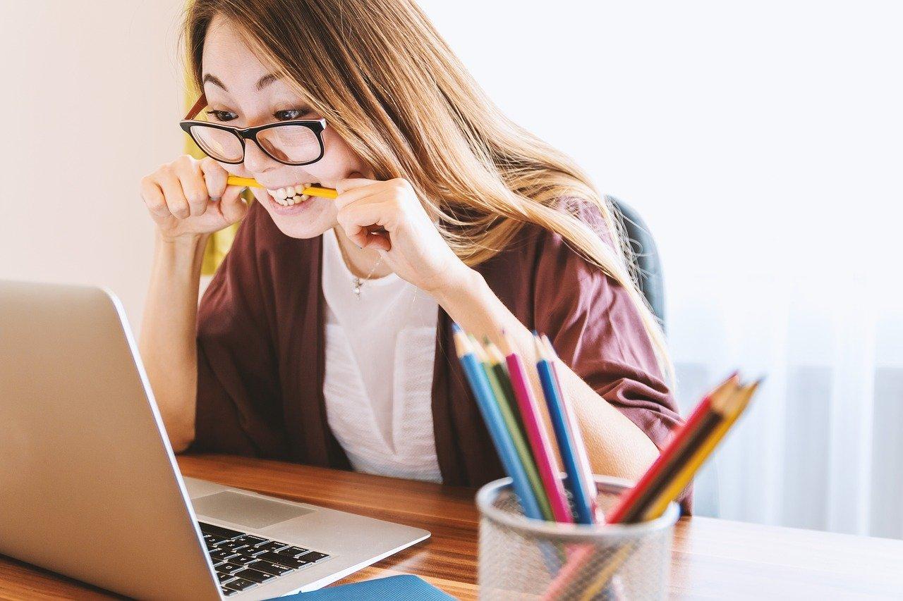 computadora portátil, mujer, educación