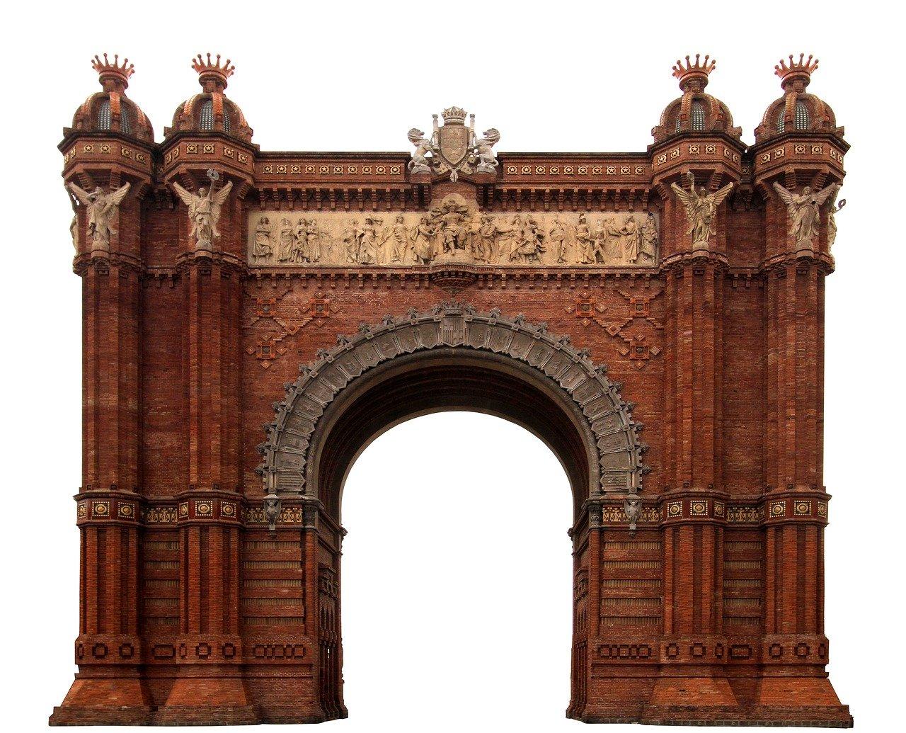 edificio, arc de triomphe, barcelona
