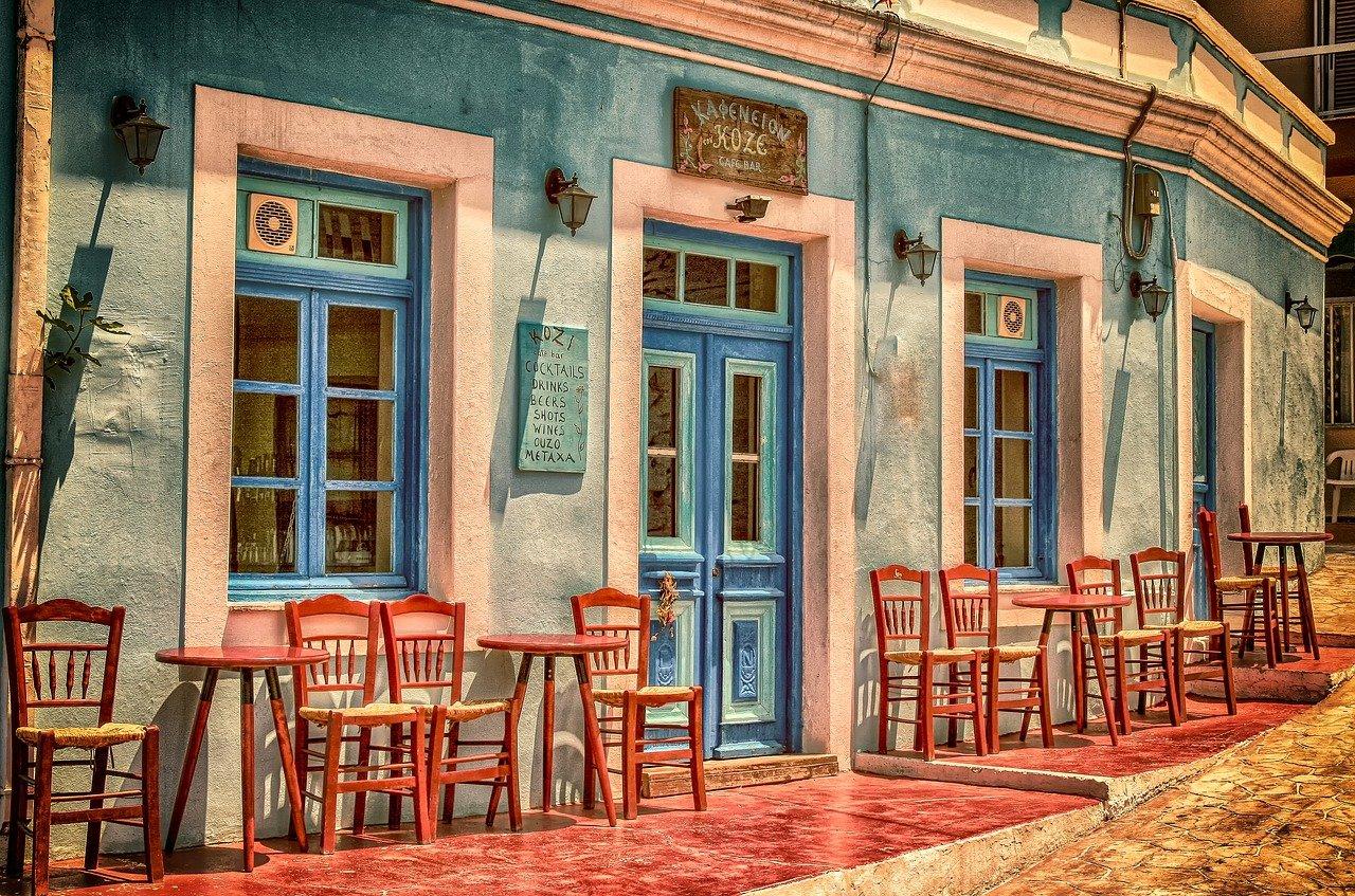 cafetería, edificio, grecia