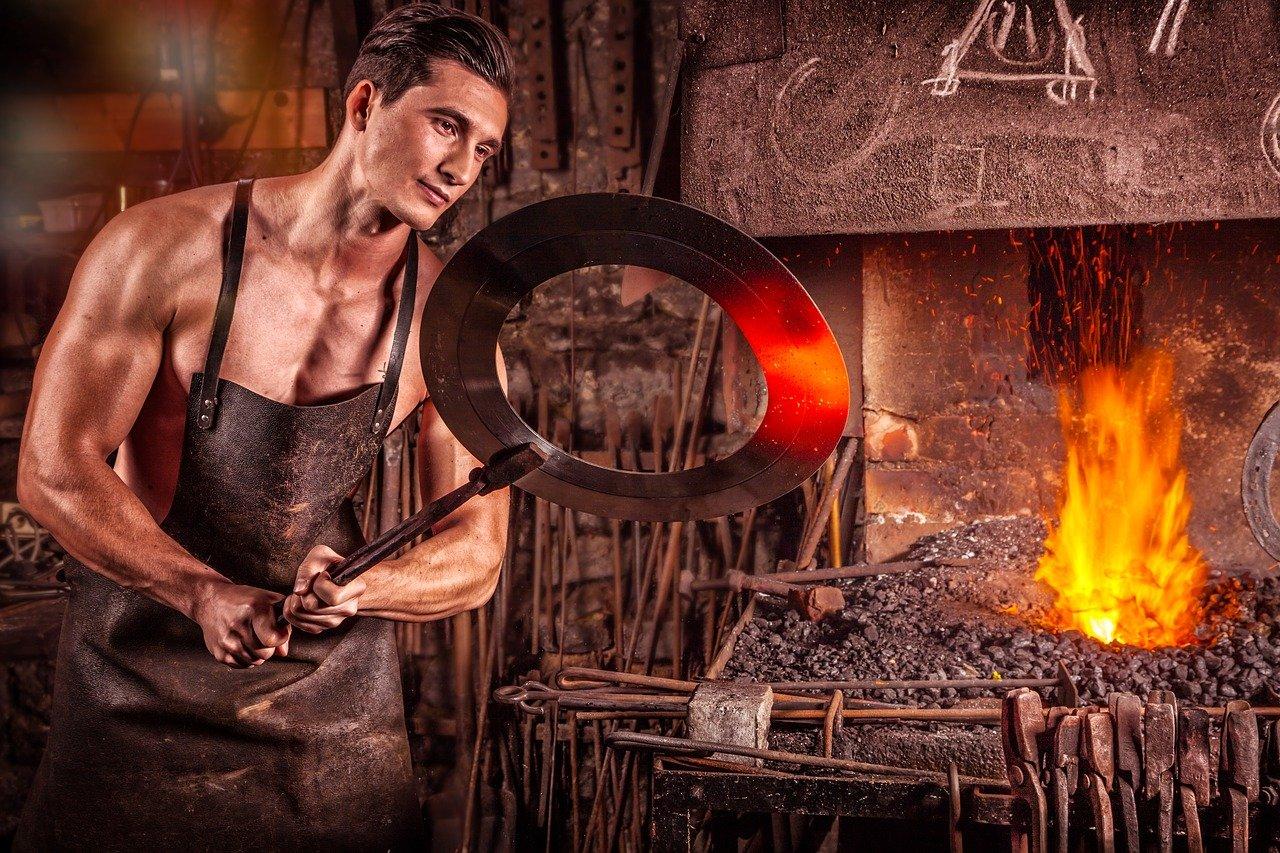 herrero, fuego, planchar