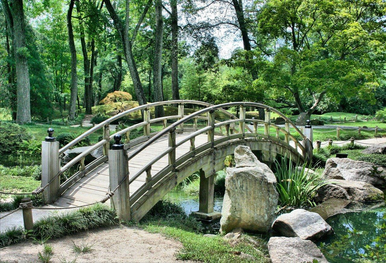 puente, parque, jardín