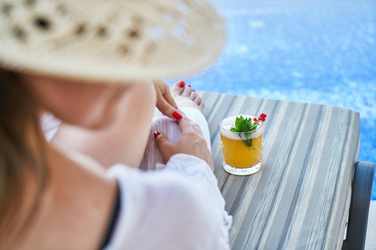 mujer, resort, hotel