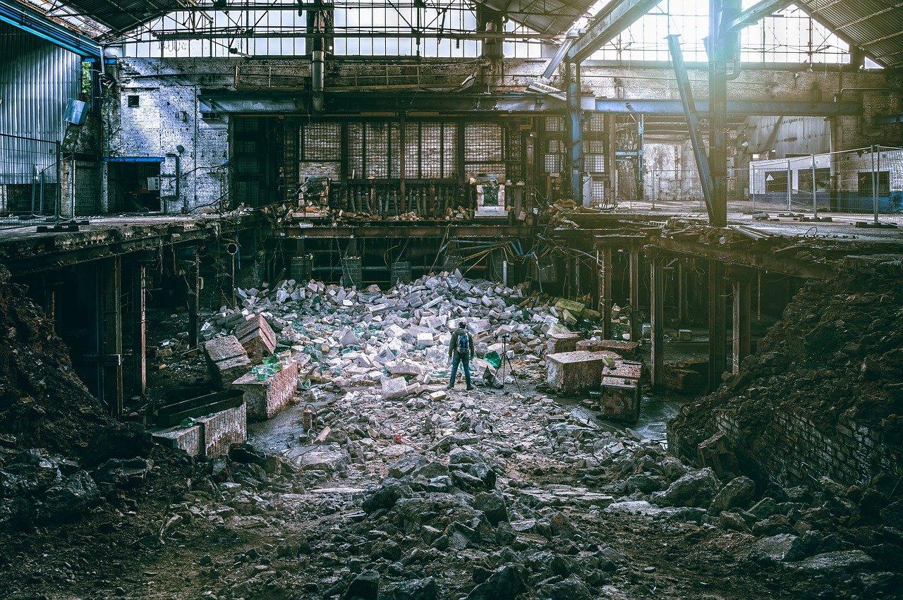 fábrica, demolición, destrucción