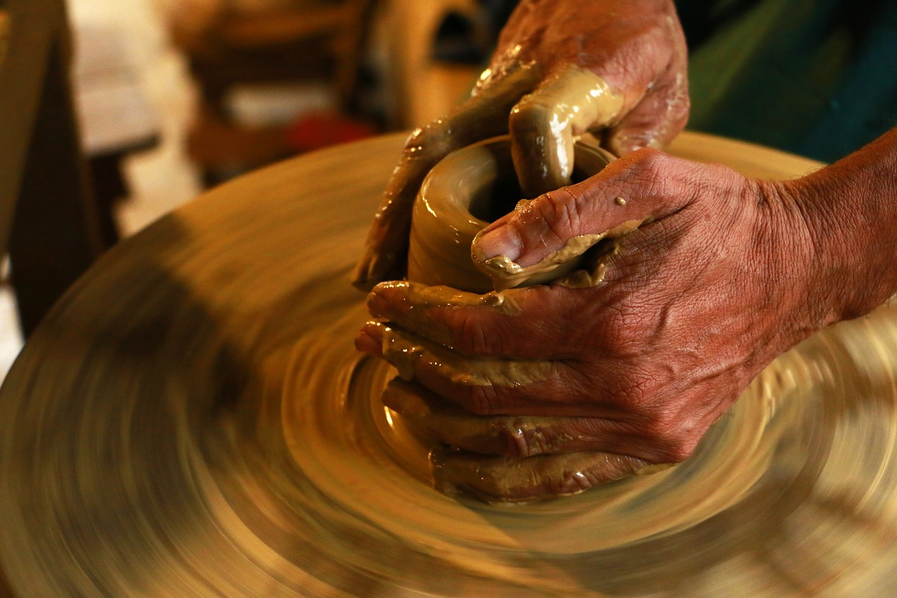 cerámica, las manos, vez
