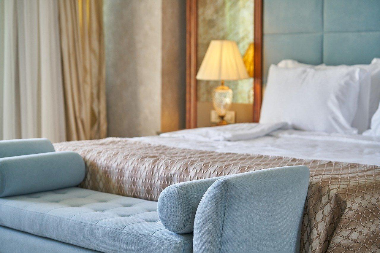 cama, habitación, habitación de hotel