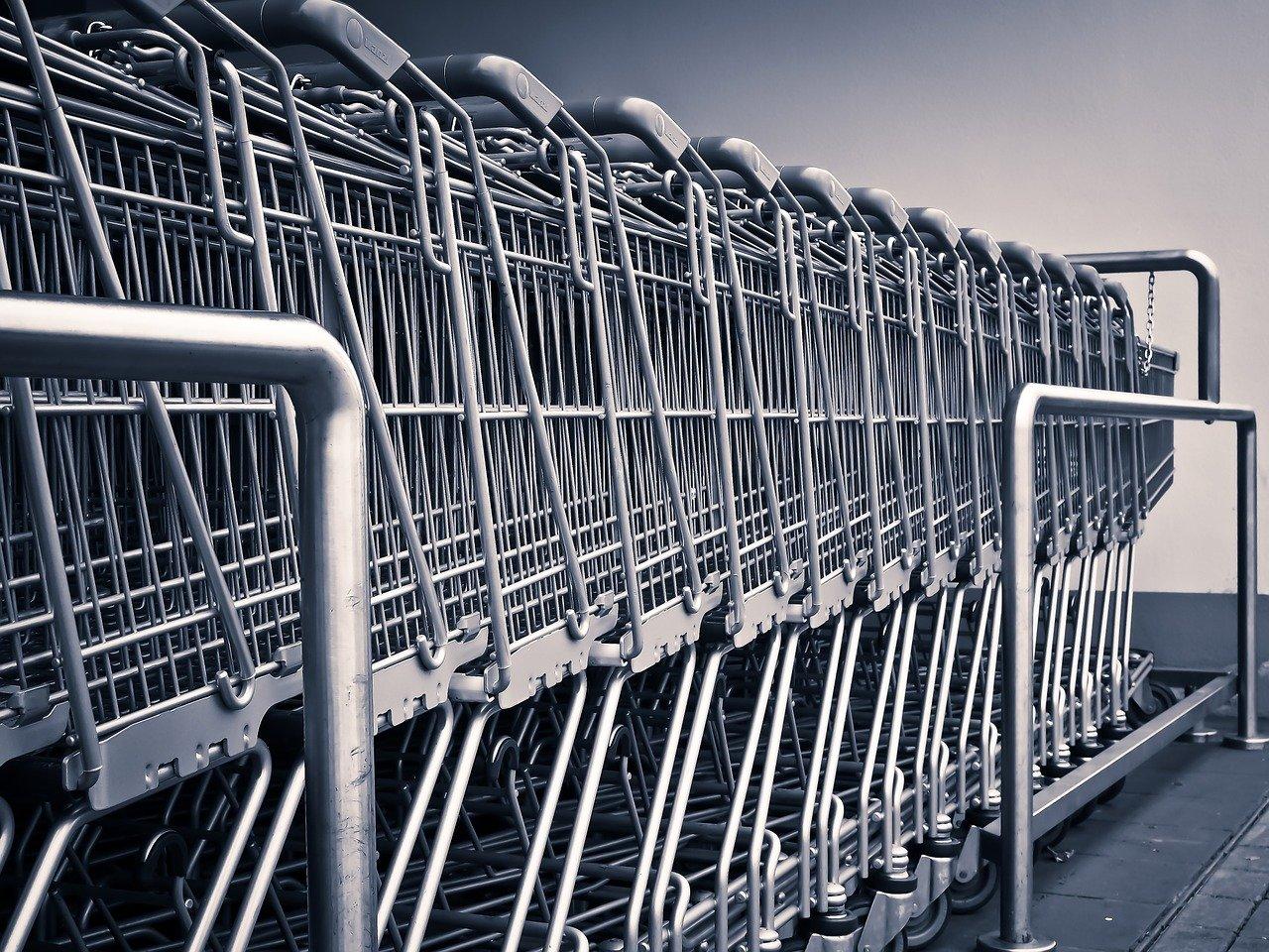 carritos de compra, tienda de comestibles, compras