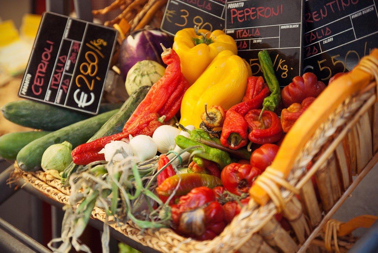 mercado, cesta, comida