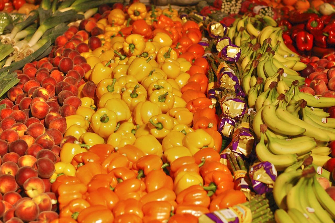frutería, fruta, plátano