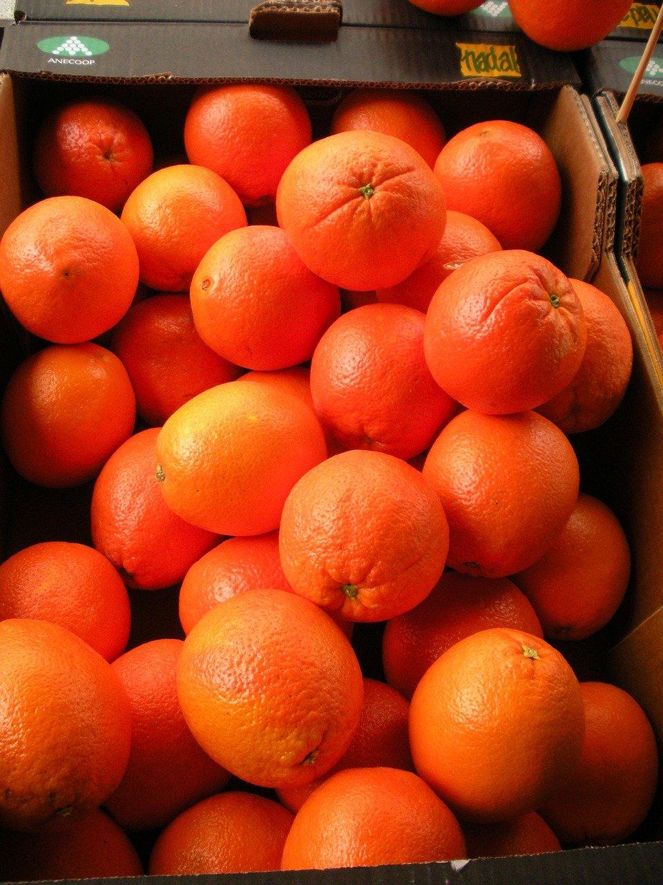 frutería, cajón de frutas, naranjas