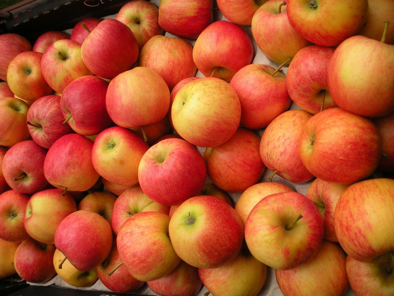 frutería, cajón de frutas, manzanas