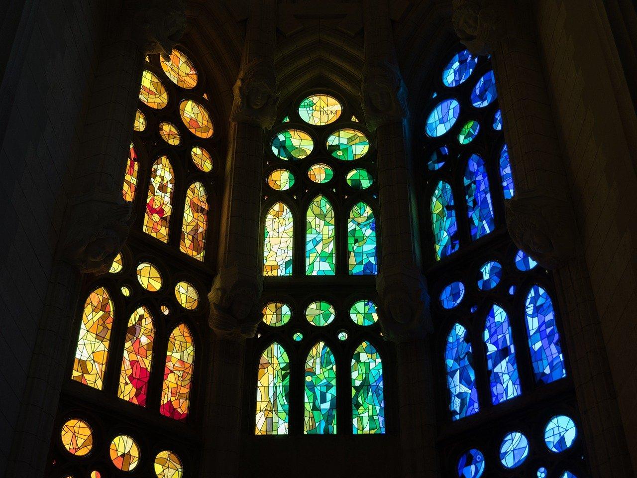vidriera, catedral, sagrada familia