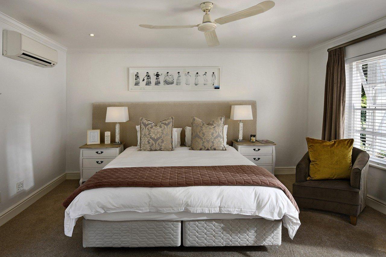 habitación, diseño de interiores, cama