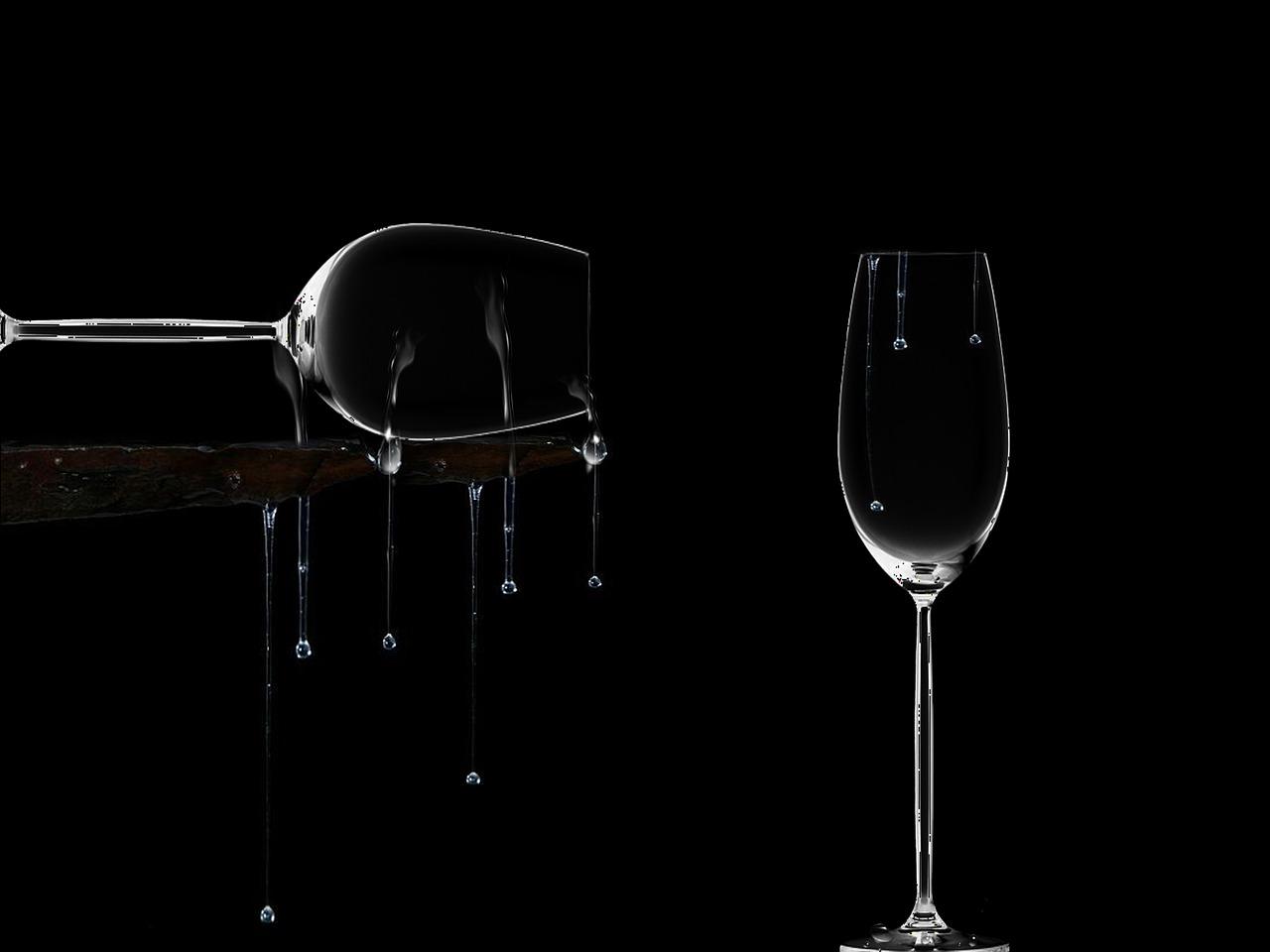 cristalería, copas de vino, gotas