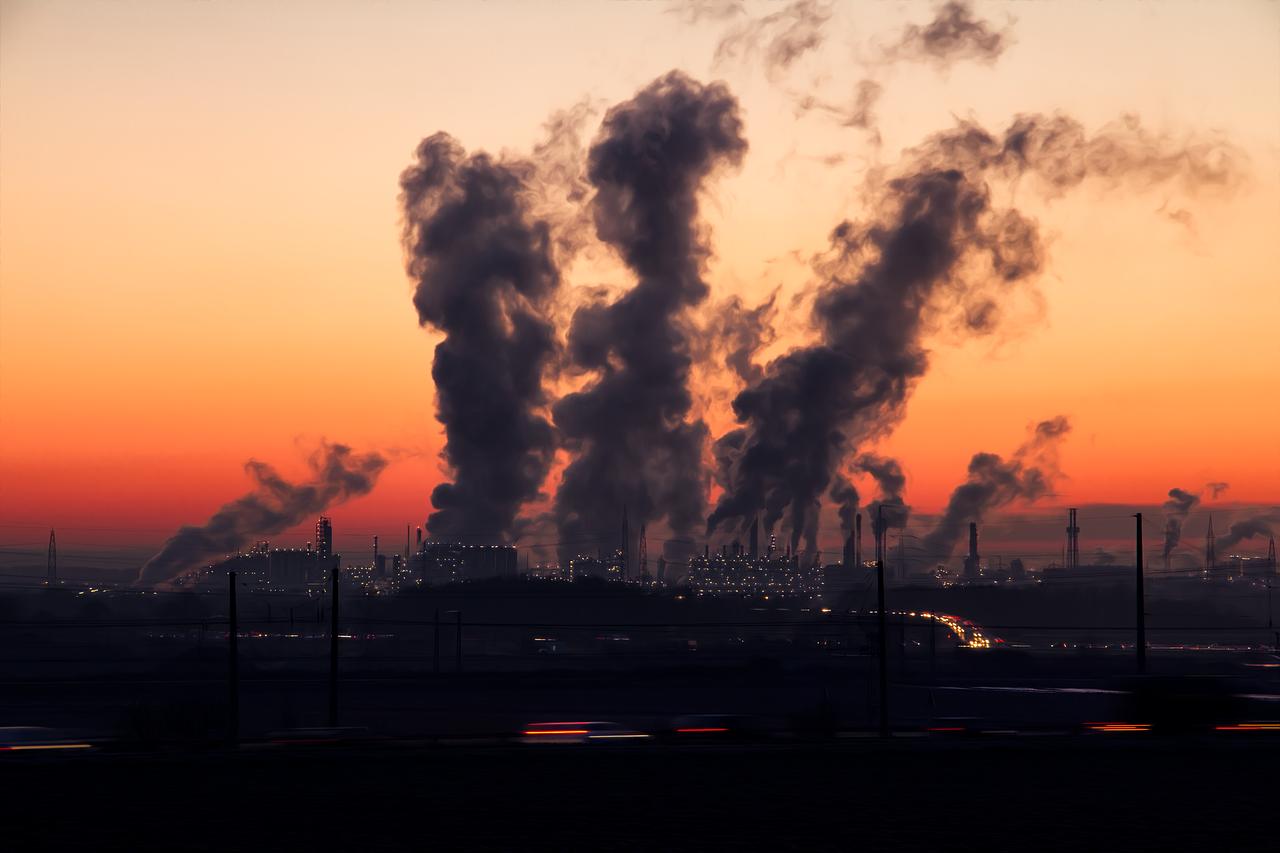 industria, atardecer, contaminación