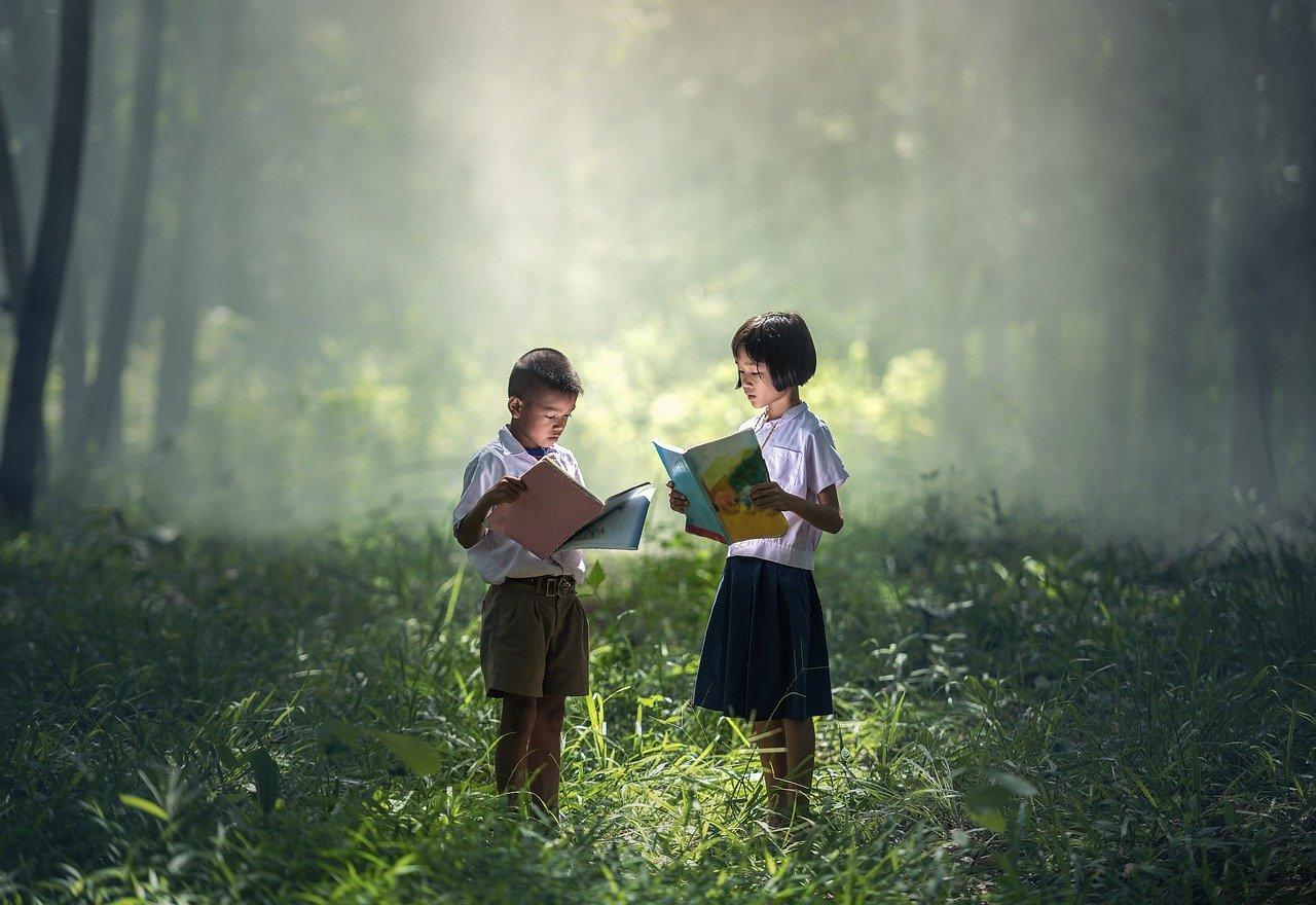 libro, asia, niños