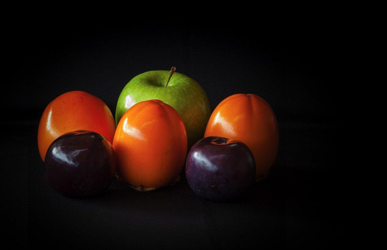fruta, bodegón, manzana