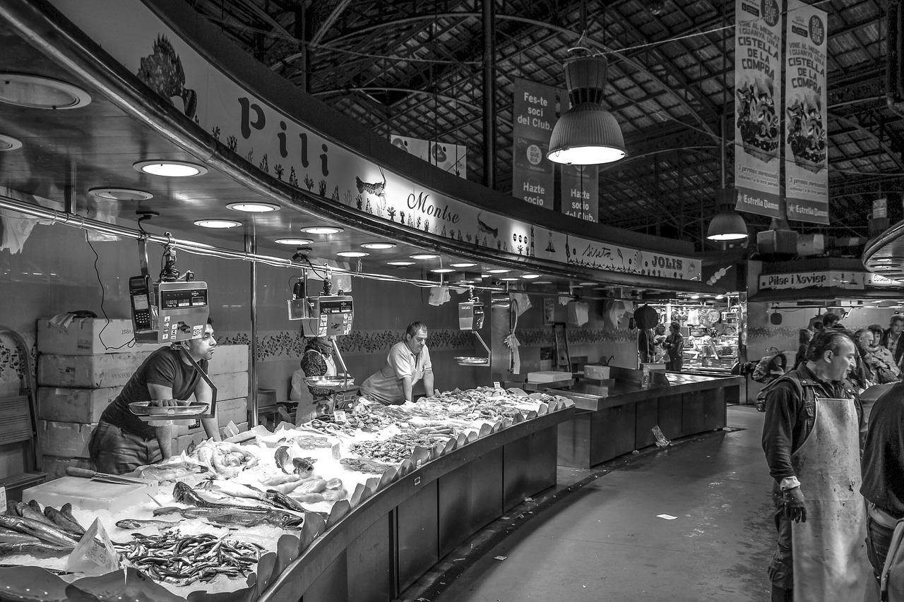 pescadería, fruto de mar, pez