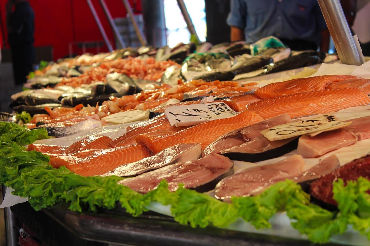 mercado, pez, pescadería