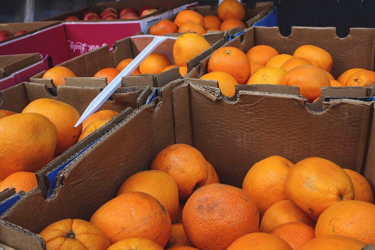 fruta, puesto de frutas, cajas