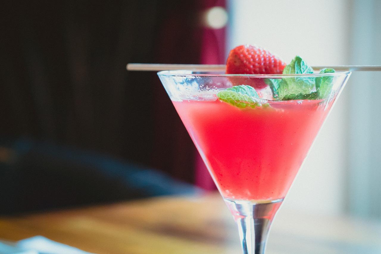 cóctel, beber, fresa