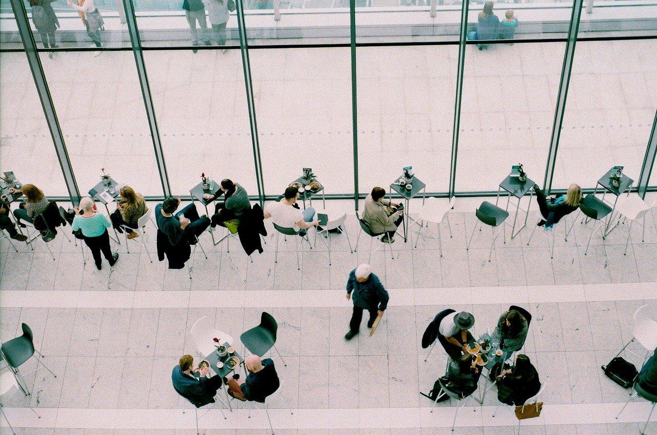 reuniones, cafetería, gente