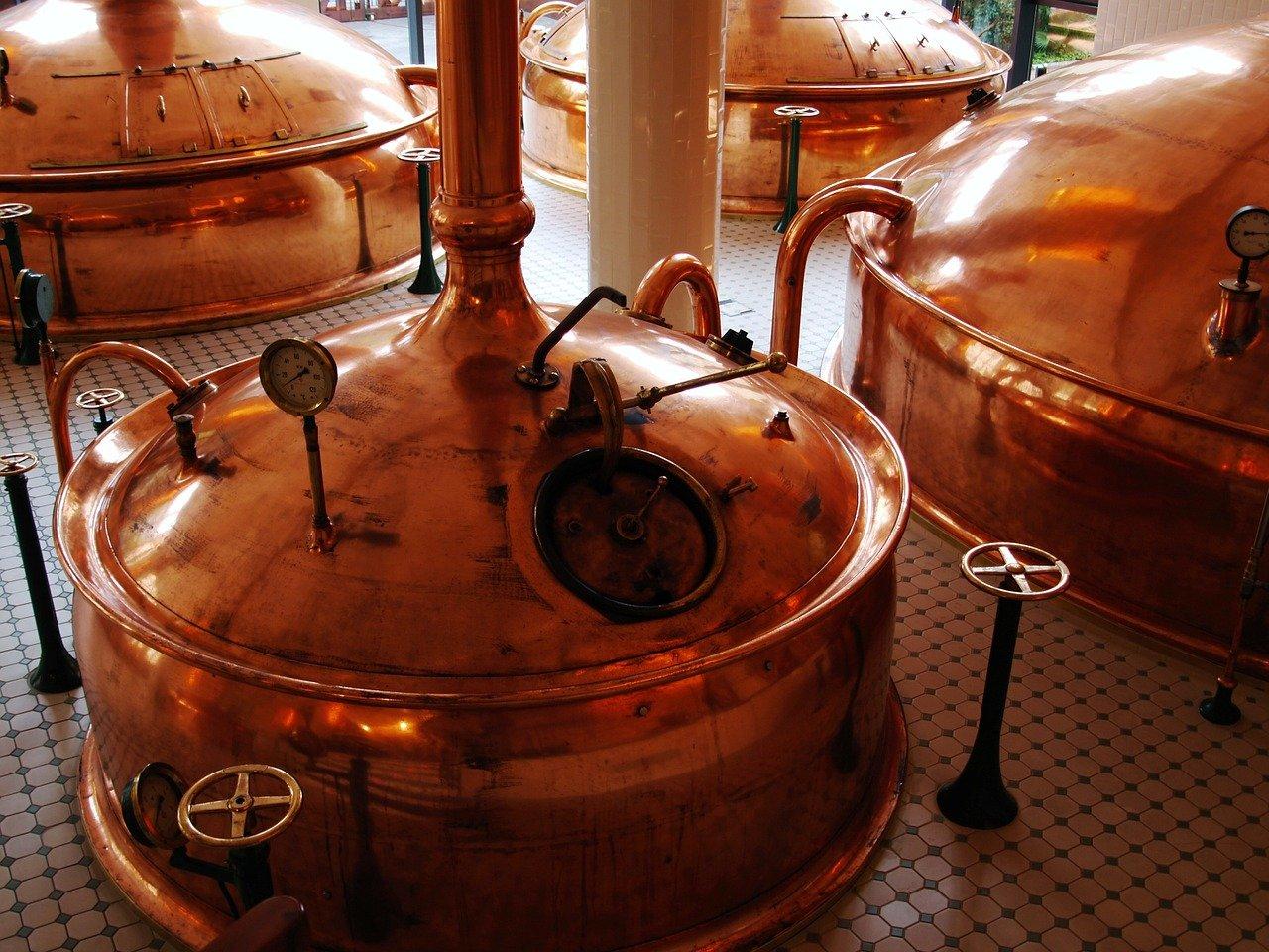 fábrica, cerveza, producción