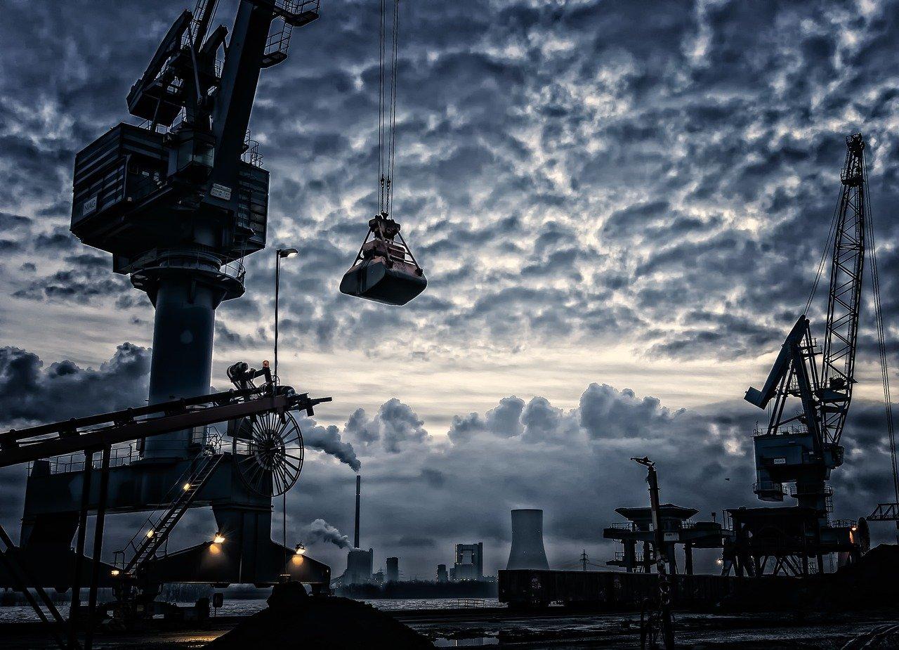 grua, puerto, envío de la industria
