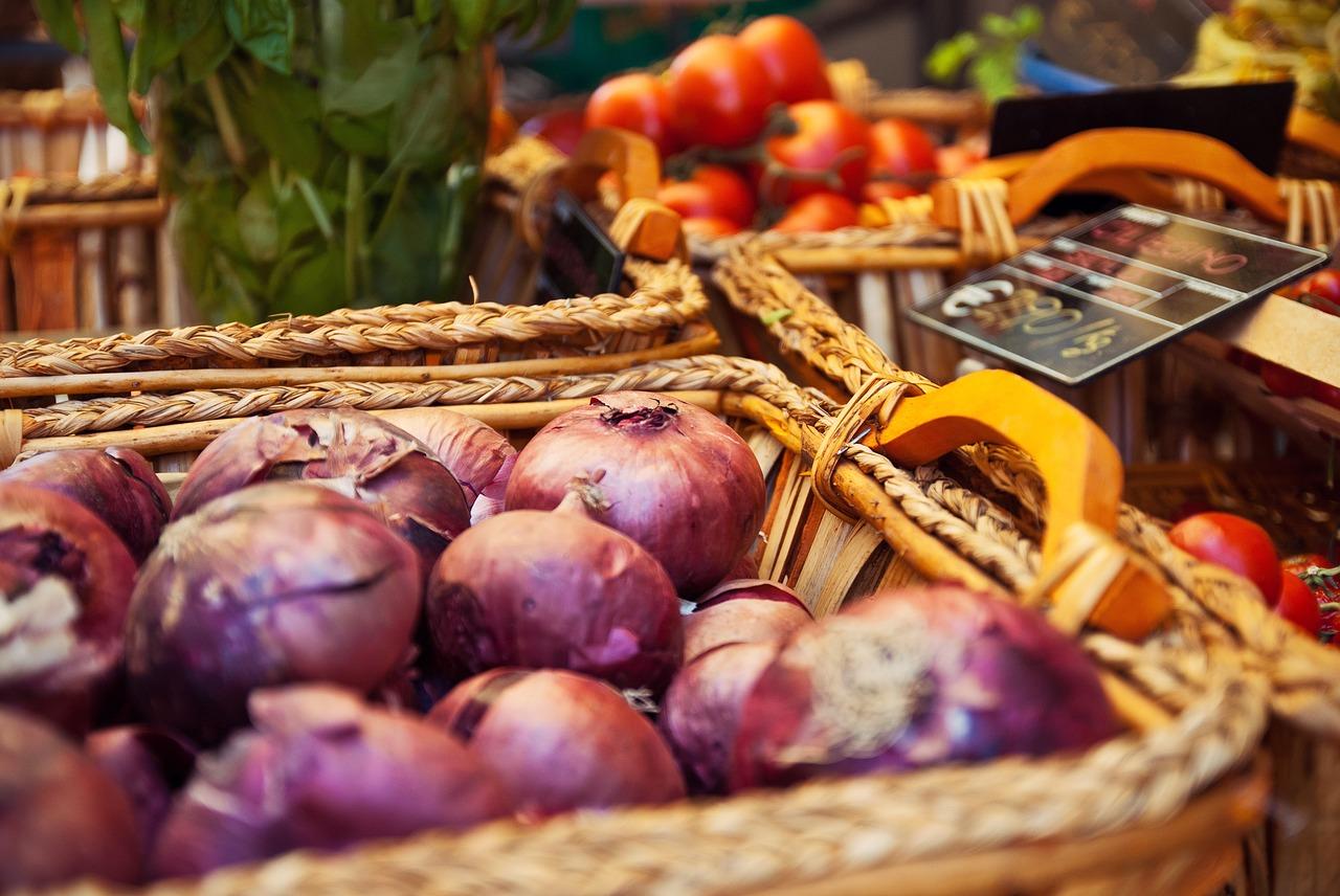 cesta, mercado, comida