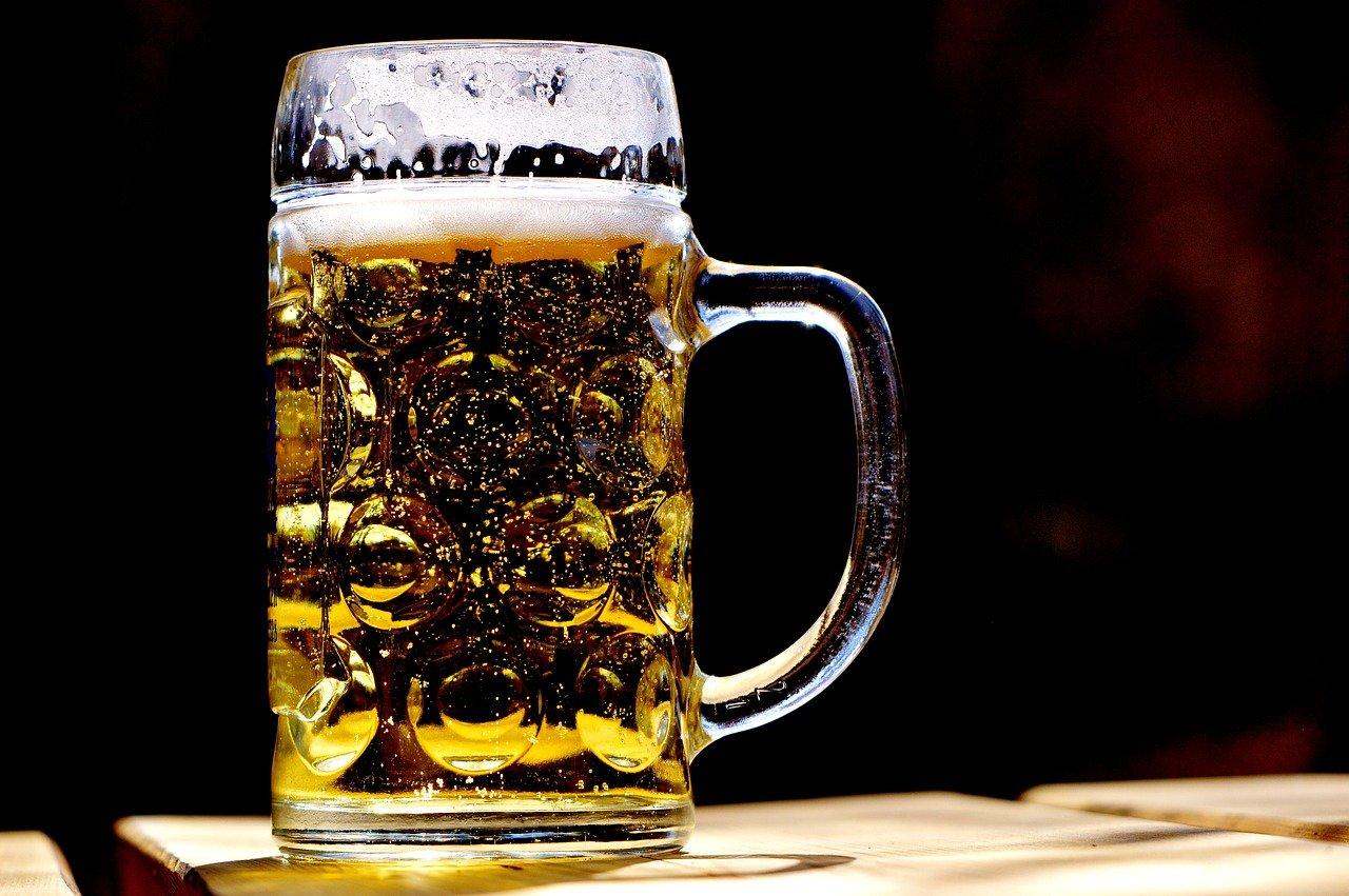 cerveza, taza, refresco
