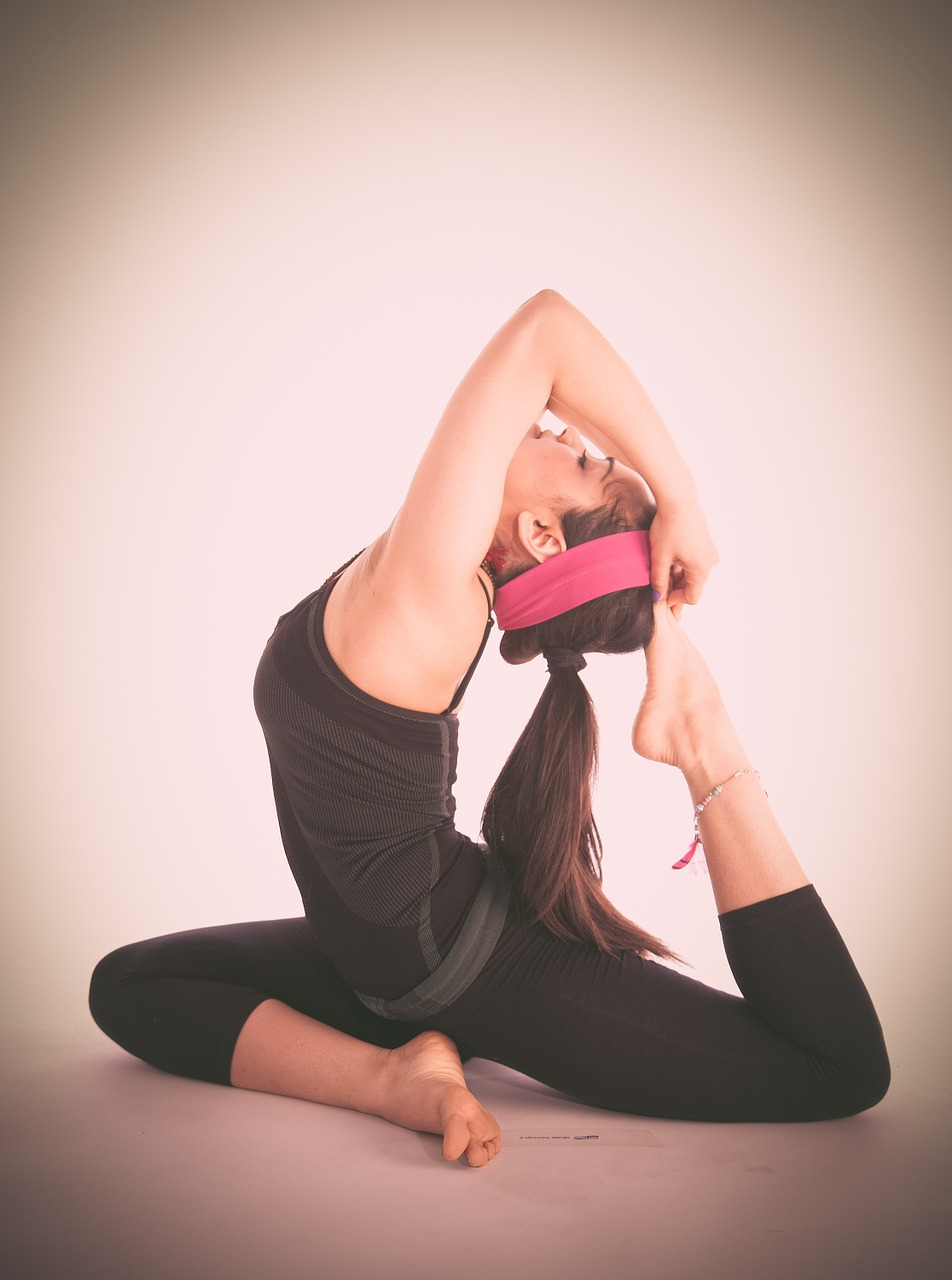 mujer, gimnasia, yoga