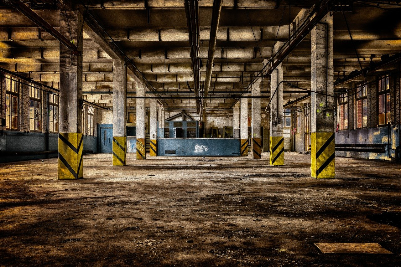 fábrica, sala, abandonado